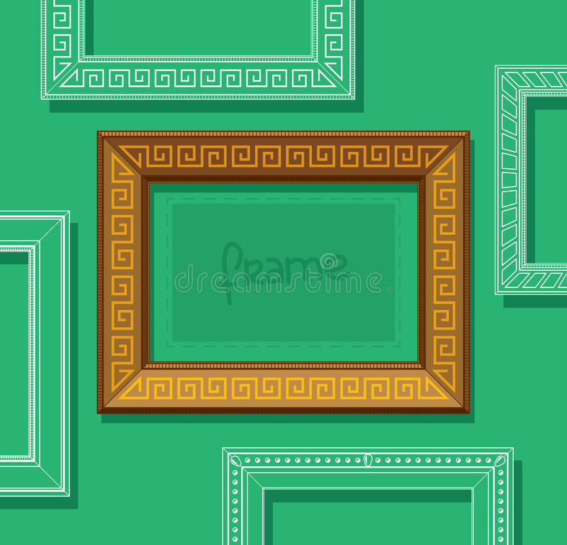 Wood Picture Frame Flat Vector. Stylish Gold Photo Frame On Green ...