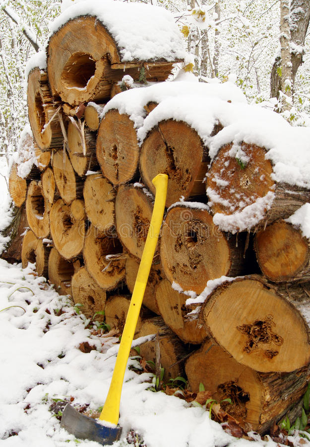 Download Wood Pile with Ax stock photo. Image of heat, cold, winter - 14939540