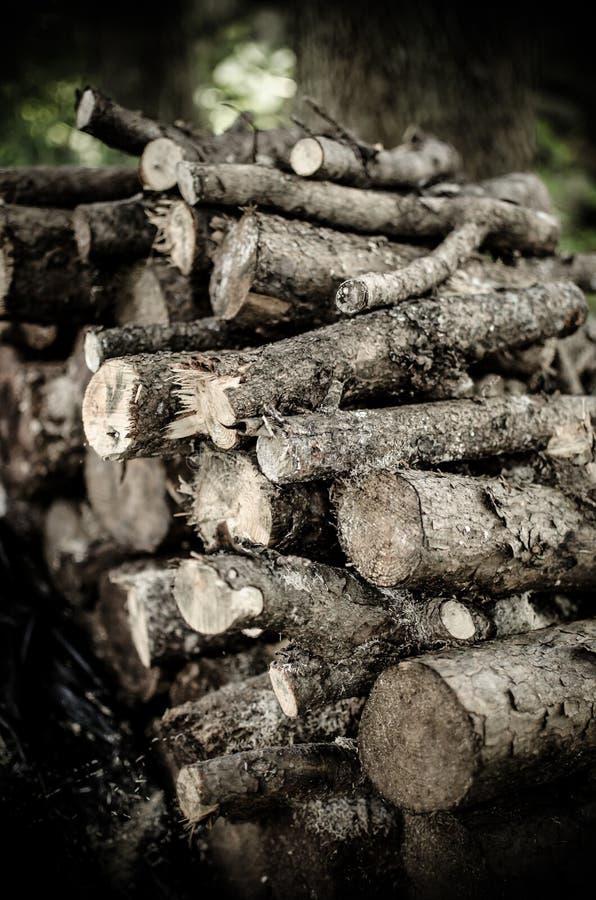 Wood pile closeup. Closeup of an outdoor woodpile royalty free stock image