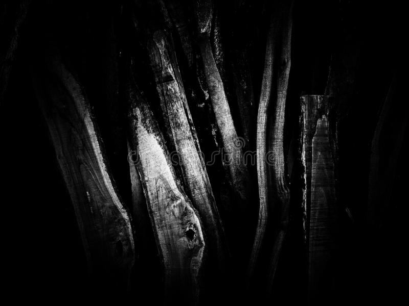 Wood pile texture on black and white stock photography