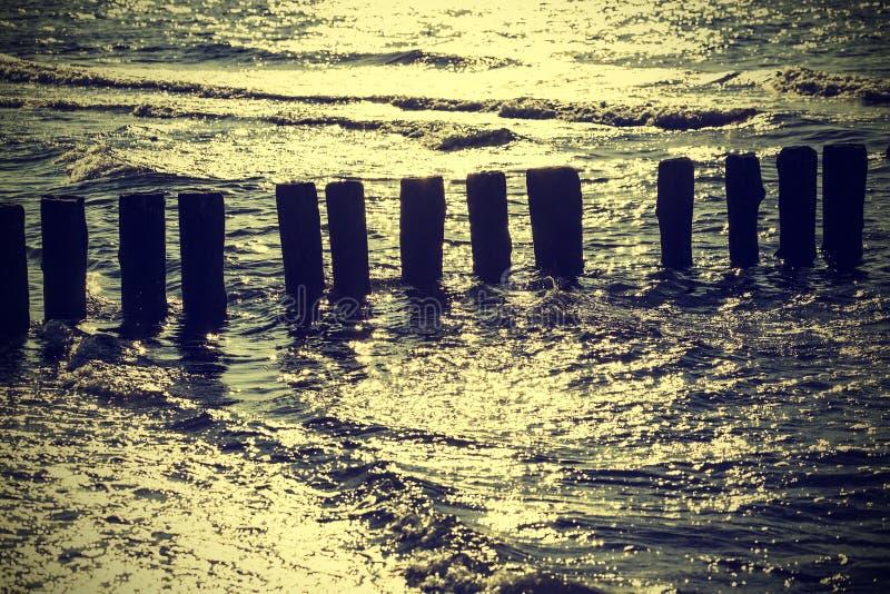 Wood pilings in water against sun, vintage retro instagram effect. Wood pilings on beach, vintage retro instagram effect, Baltic Sea, Poland stock photo
