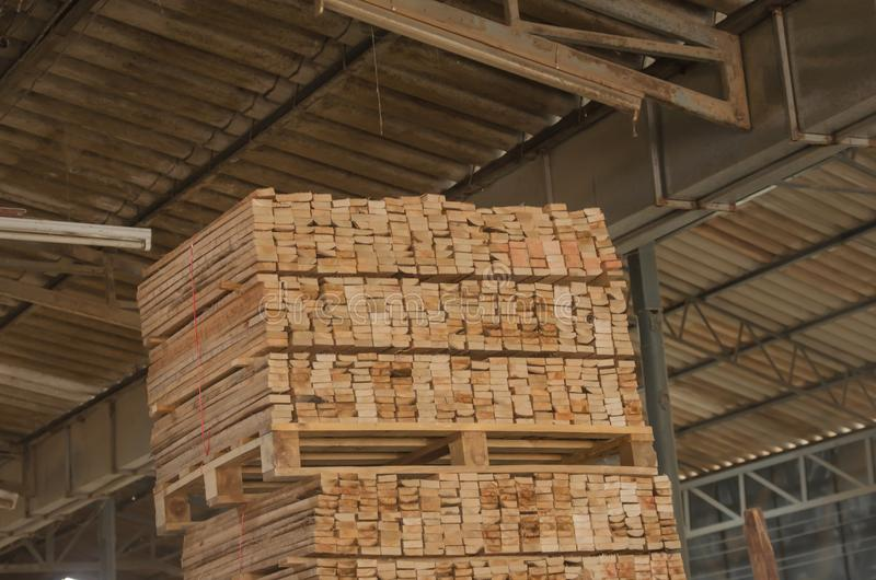 Wood pine. Pile pine processing plant.Stacked wood pine timber production for furniture production royalty free stock images