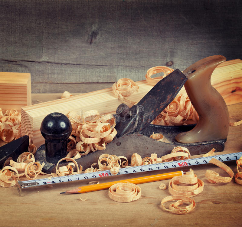 Wood planer and shavings stock photo