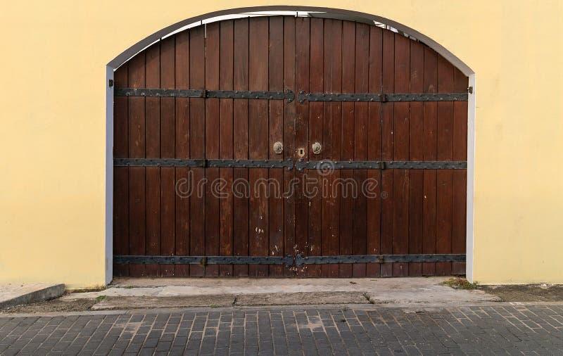 Old Wooden Brown House Door Dark Wood Planks Background Stock Photo