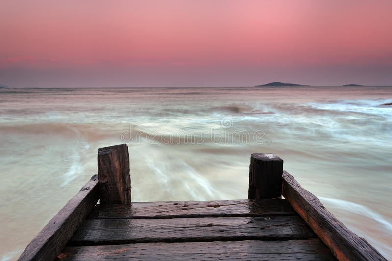 Wood plank road end of the pier stock photography image