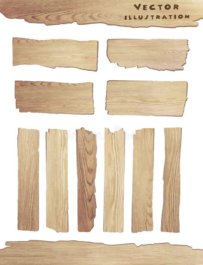 Wood planka för vektor som isoleras på vit bakgrund stock illustrationer
