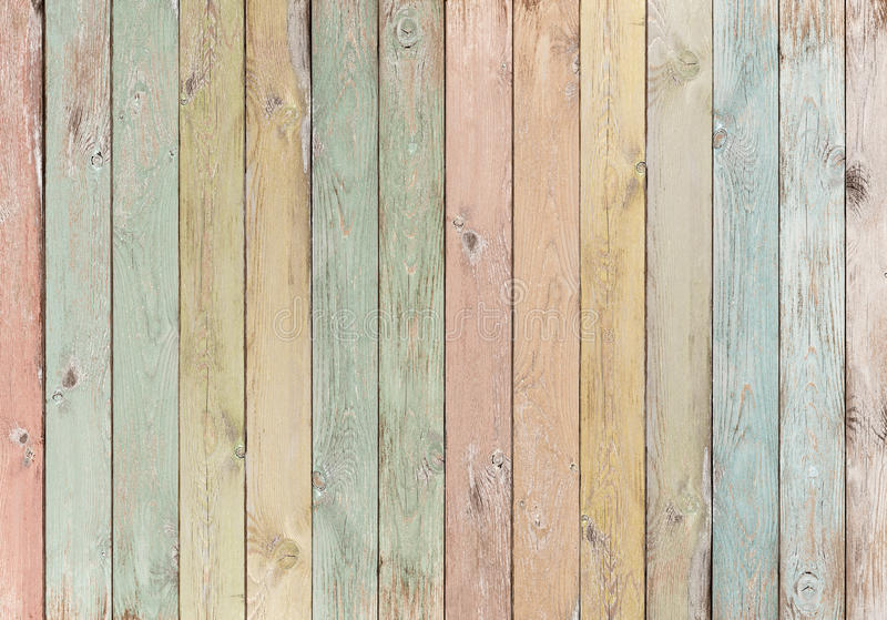 Pastel Painted Old Weathered Wood Planks Stock Photo