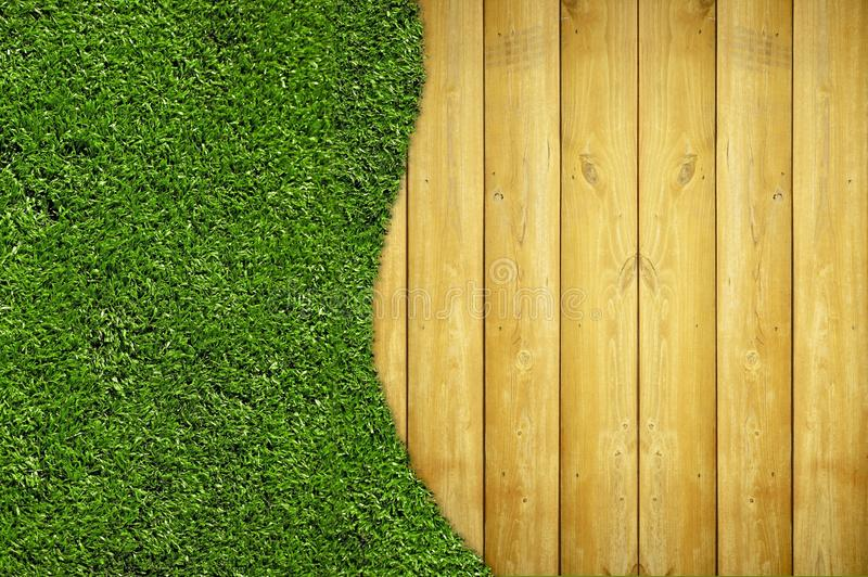 Wood Planks And Grass Stock Photo