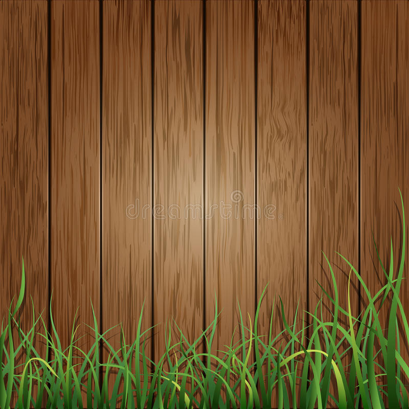 Wood planks and green grass background vector illustration
