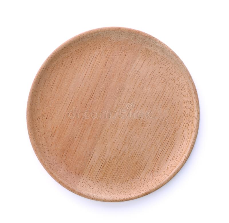 Wood plate isolated on white background royalty free stock photo