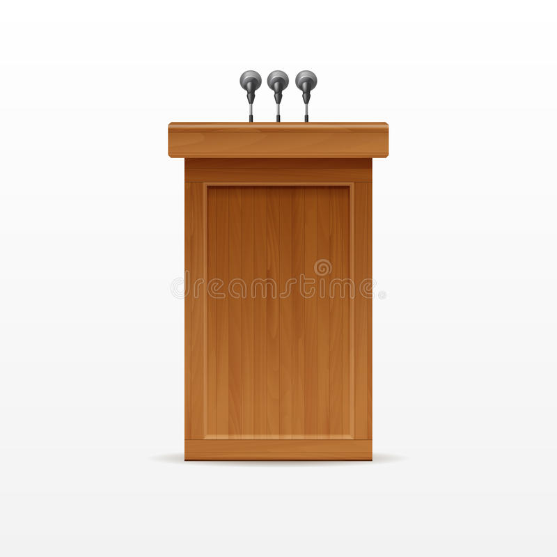 Wood Podium Tribune Rostrum Stand with Microphones stock illustration