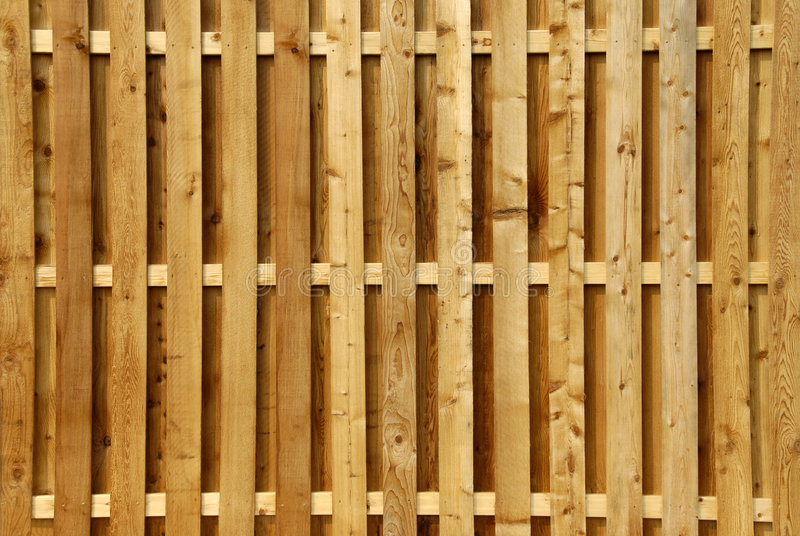 Wood Privacy Fence. A new natural wood plank privacy fence stock photography