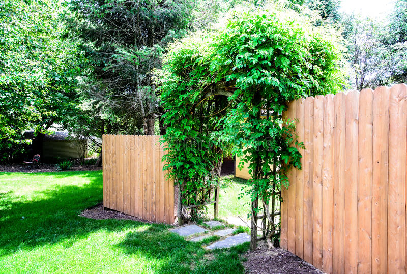 Wood Privacy Fence dog ear style. A Wood Privacy Fence with dog ear style pickets stock images