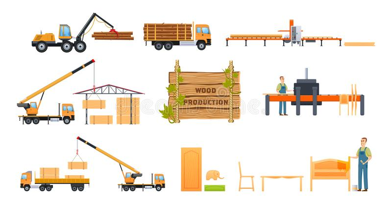 Wood production. Freight transport, storage, transportation, loading. Processing of wood. Wood production concept. Cargo working car for freight transport for royalty free illustration