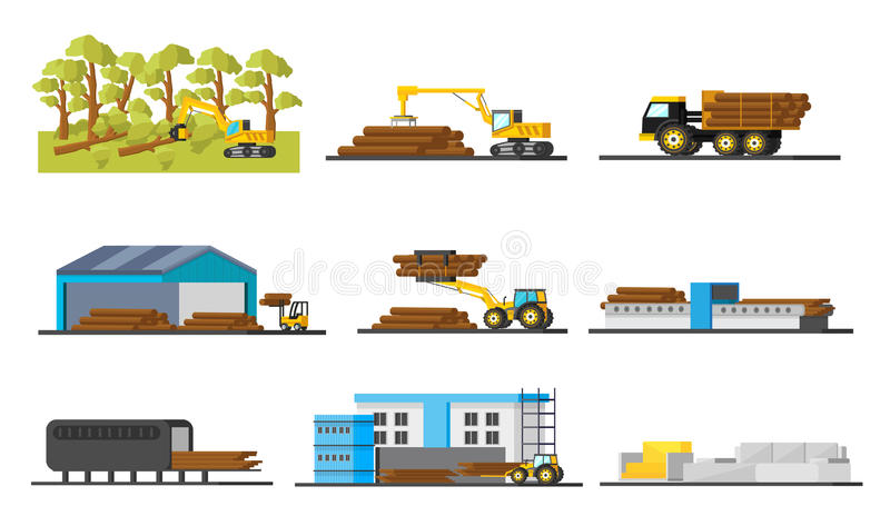 Wood Production Elements Collection vector illustration