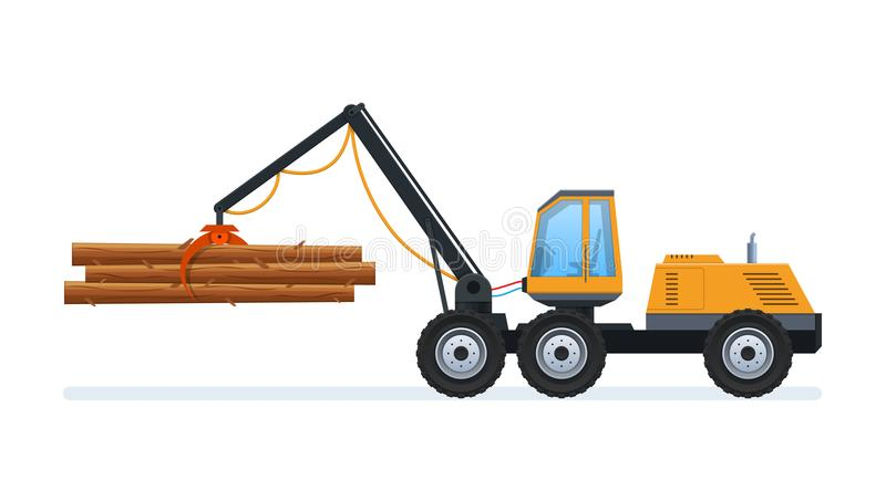 Wood production and forestry. Loading and transporting goods. vector illustration