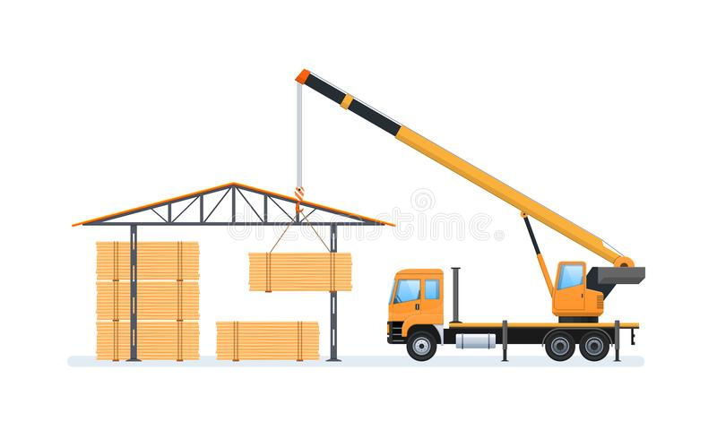 Wood production, forestry. Machine for loading and unloading in warehouse. vector illustration