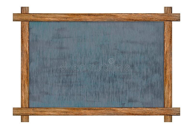 Wood ram för svart tavla med svart yttersida arkivfoto