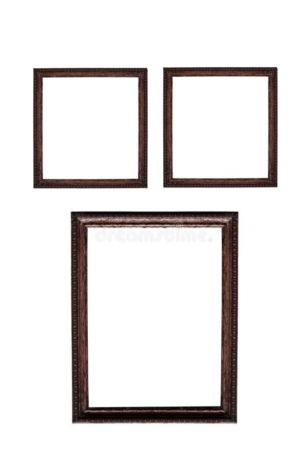 Wood ram som isoleras på vit royaltyfri foto