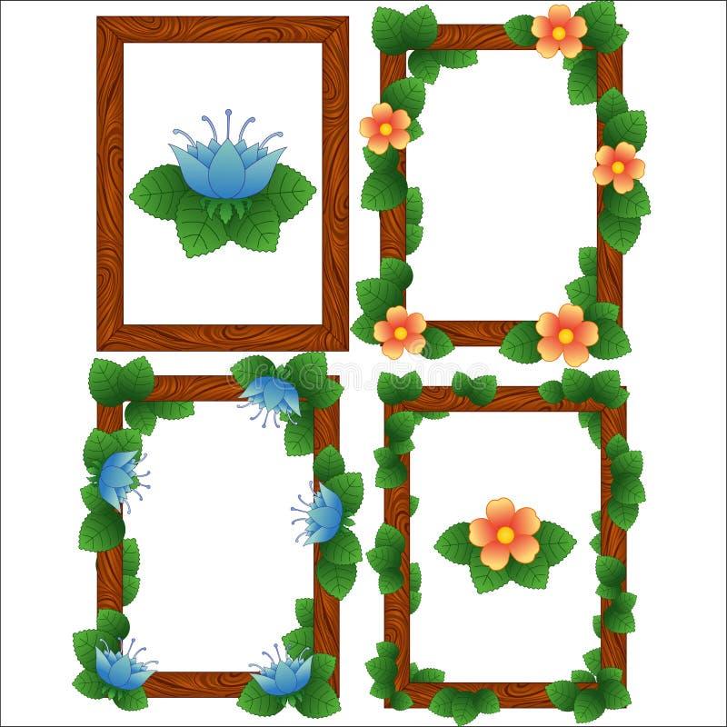Wood ramramar med sidor och blommor arkivfoto
