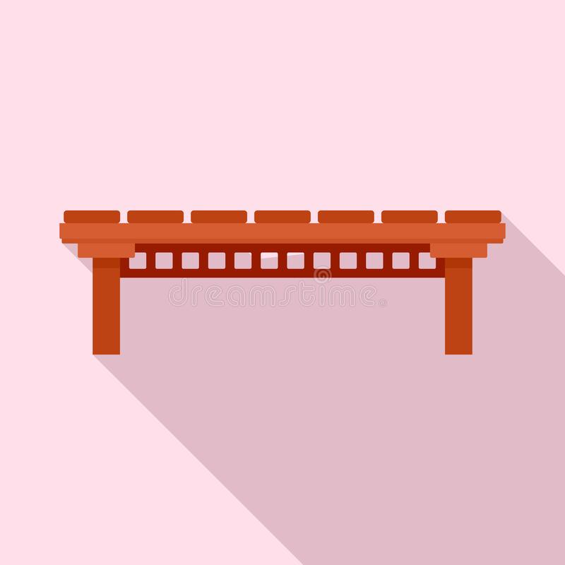 Wood river bridge icon, flat style stock illustration