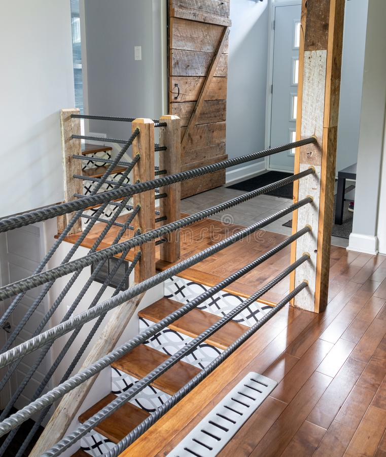 Modern house staircase and handrail royalty free stock image