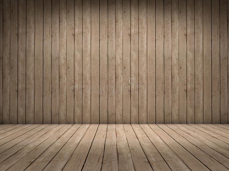 Wood room. Room with wood wall and wood floor with beautiful light royalty free illustration