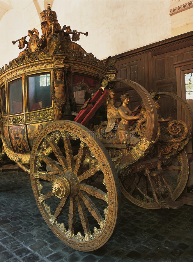 Wood royal carriage at Versailles Palace royalty free stock photography