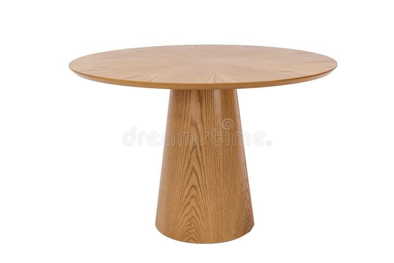 wood rund tabell på vit royaltyfria foton