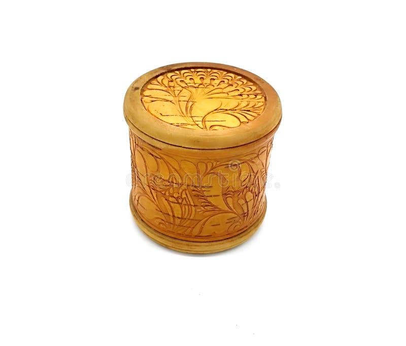 Wood russian national closed birch bark box. Ornamental old handicraft. Handmade decorative vintage craft. Ethnic style ornament royalty free stock image