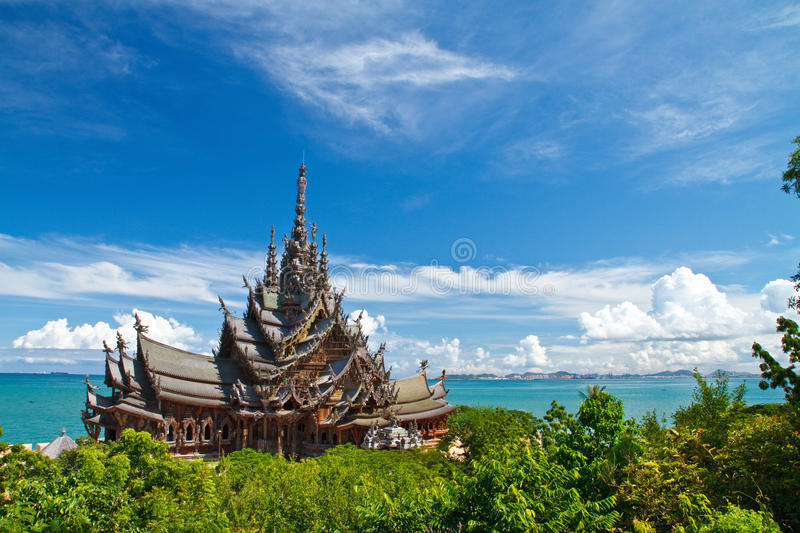 The Wood Sanctuary of Truth in Pattaya royalty free stock photo