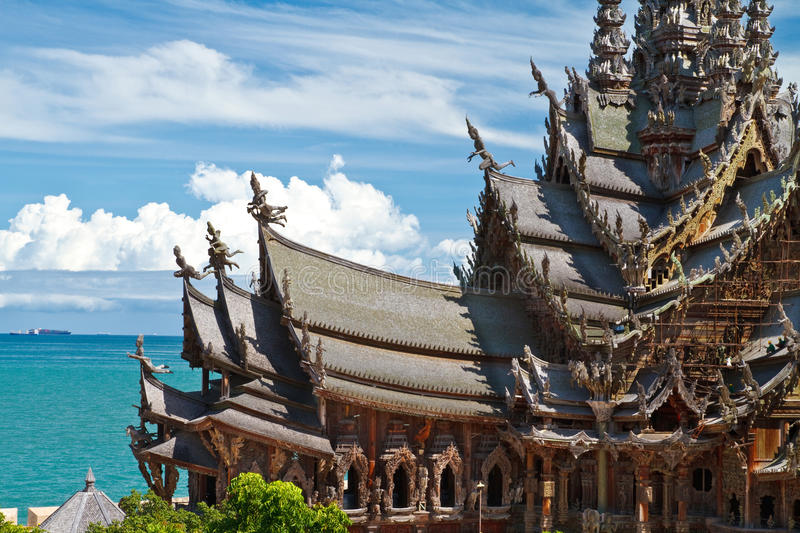 The Wood Sanctuary of Truth in Pattaya royalty free stock image