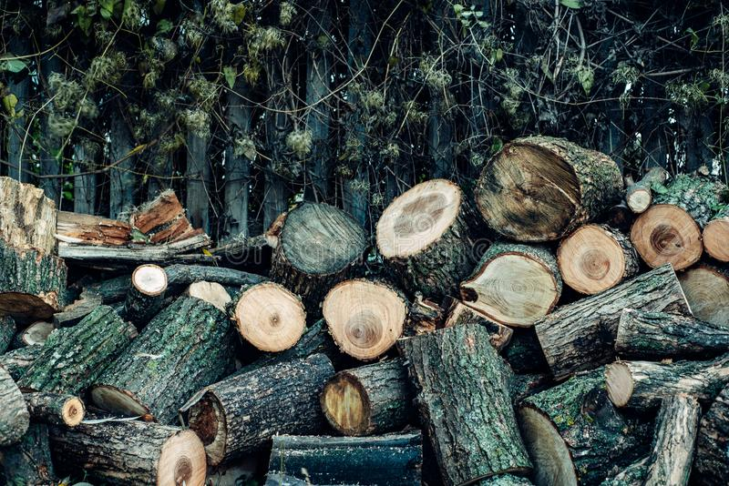 Wood is sawn into many small pieces. The wood is sawn into many small pieces, lying a heap one on one under the fence royalty free stock photos