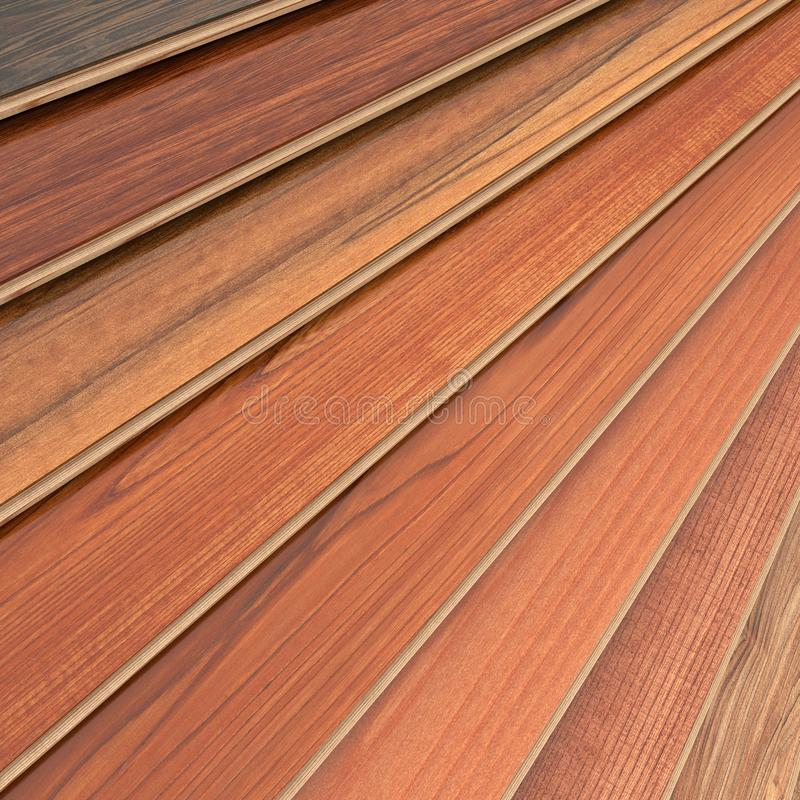 Wood selection. 3D rendering of parquet strips in different types of woods stock illustration