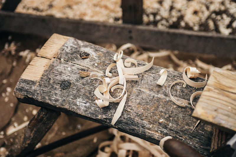 Wood Shavings On Plank Free Public Domain Cc0 Image