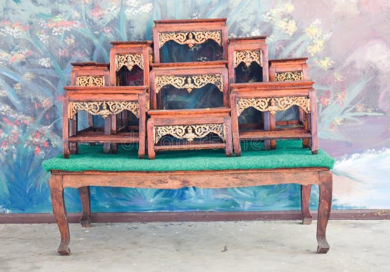 Wood shelf for Buddhism. Background stock photography