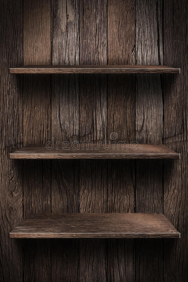 Wood shelf. Grunge industrial interior Uneven diffuse lighting version. Design component royalty free stock image