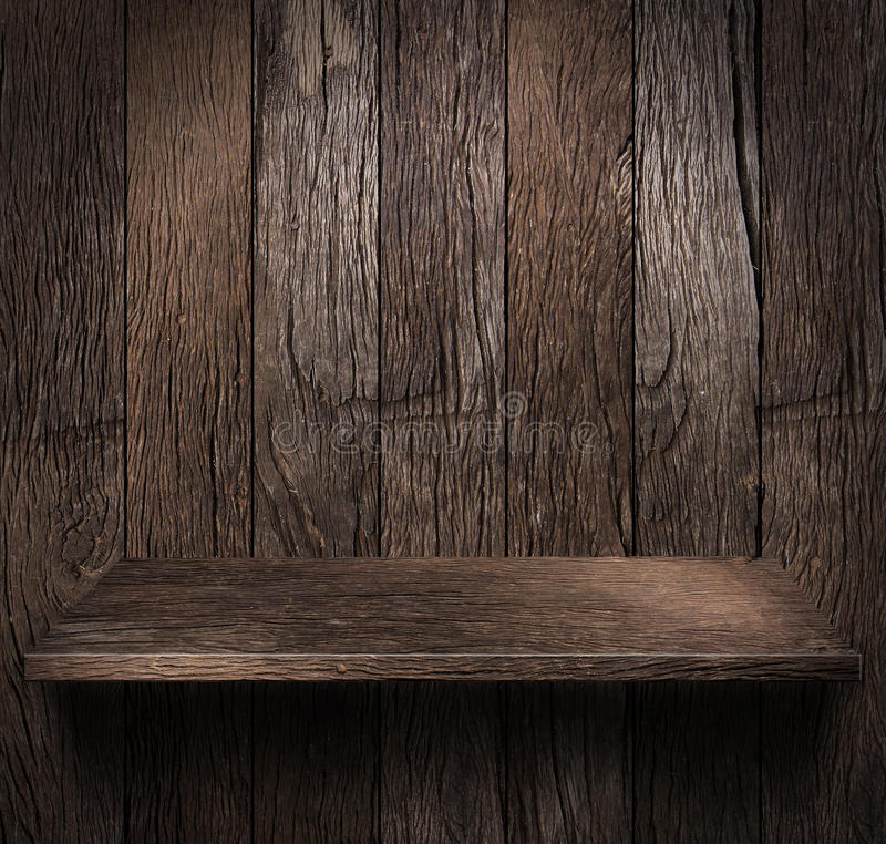 Wood shelf. Grunge industrial interior Uneven diffuse lighting version. Design component stock images