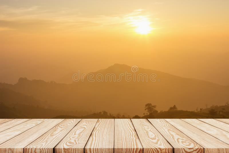 Wood shelf table with background of mountain. View in the morning stock images