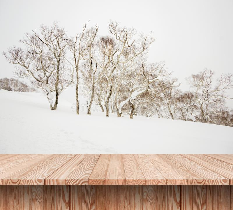 Wood shelf table with blurred background of winter time. And trees in the snow royalty free stock image