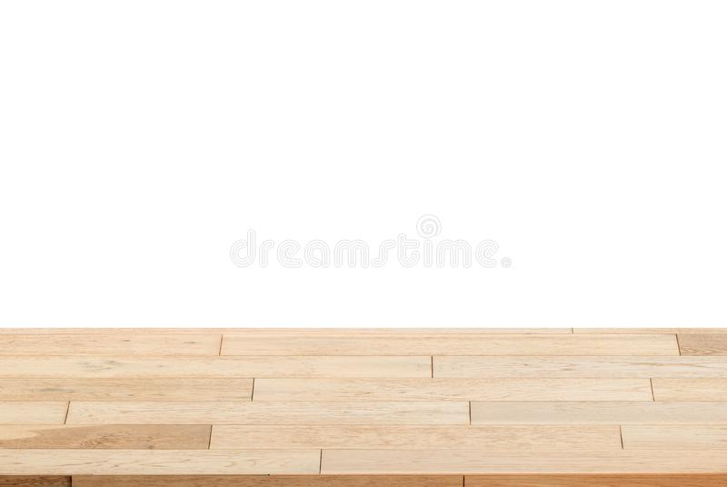 Wood Shelf Table isolated on white background. Can be used for display or montage your products royalty free stock image