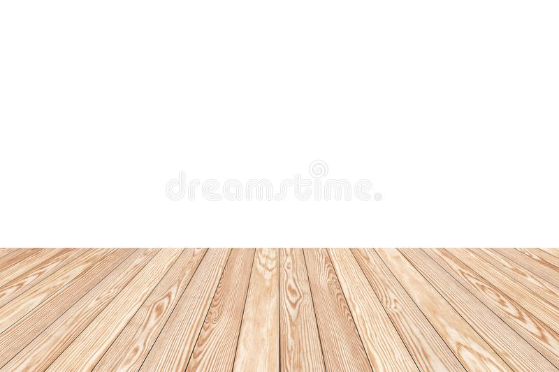 Wood Shelf Table isolated on white background. Can be used for display or montage your products stock image