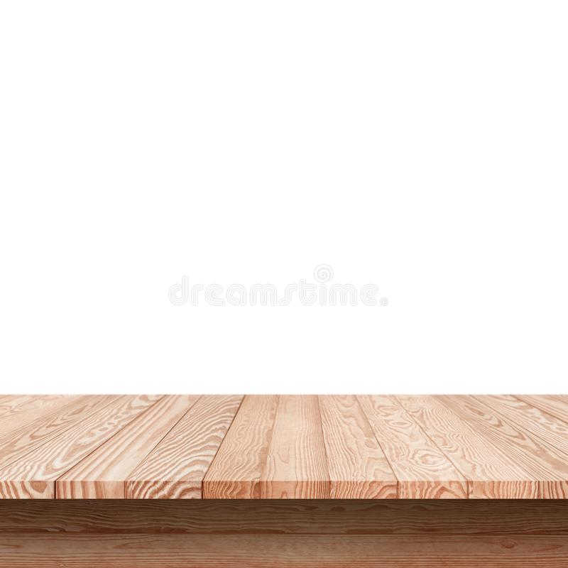 Wood shelf table isolated. On white background royalty free stock images