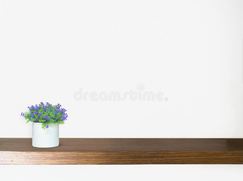 Wood Shelf Table and a plant pot on white background. Wood Shelf Table and a plant pot on white background royalty free stock images