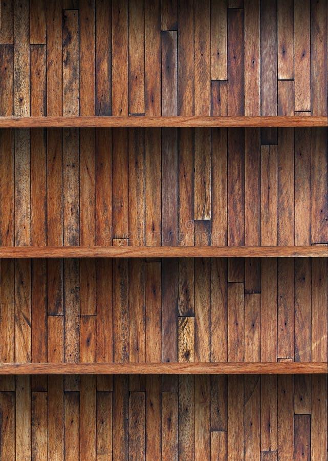 Wood shelf on wooden wall. Empty wood shelf on wooden wall royalty free stock photos