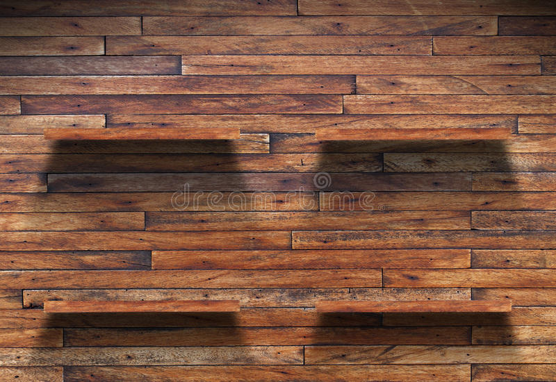 Wood shelf on wooden wall. Empty wood shelf on wooden wall royalty free stock photography