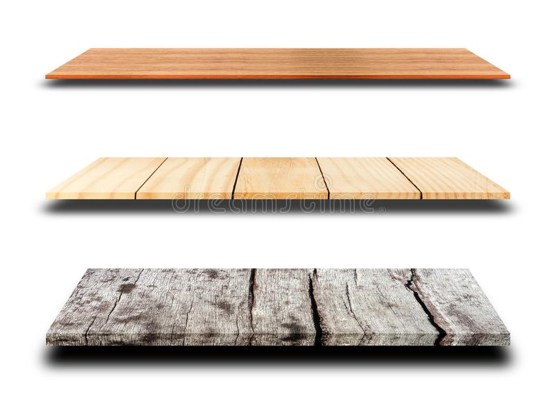 Wood shelves or shelf isolated on white background with clipping. Empty product and display background concept, Wood shelves or shelf isolated on white stock photo