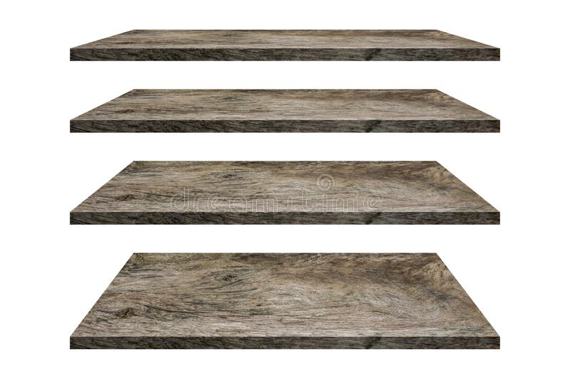 Wood shelves table top collection isolated on white background. Clipping path include in this image. Copy space for your display or montage stock images