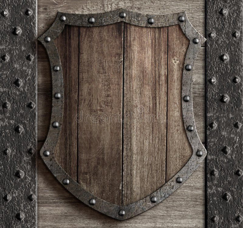 Wood shield on medieval castle gate 3d illustration royalty free illustration