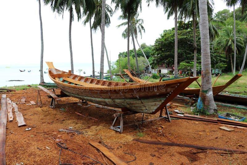 Wood shipbuilding near the sea. stock photo
